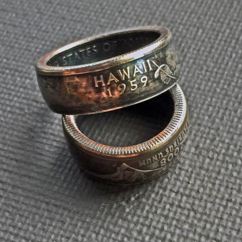 coin ringhawaiian jewelryhawaiian ringquarter ringjewelryringswedding bandhawaiiupcycledmens ringwedding ringsrepurpose - Hawaiian Wedding Ring