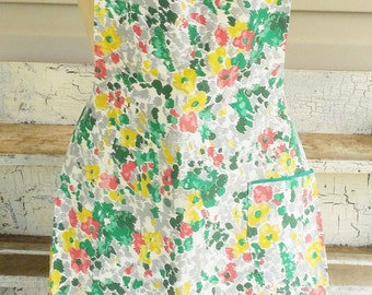Cotton Floral Full Apron, Green Yellow and Red Themed Full Kitchen Apron with Tie in Back