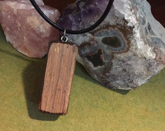 Quila Wood Block Pendant on Leather Cord Necklace