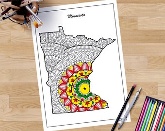 Minnesota Decorative Map Coloring Pages For Adults Zentangle Maps United States Art