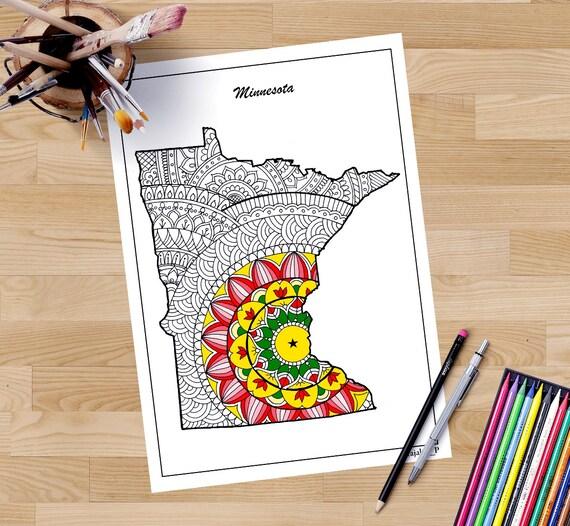 Minnesota decorative map coloring