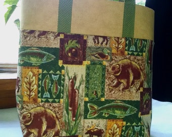 Childrens Tote Woodland Animal and Fish Tote Bag Book Bag