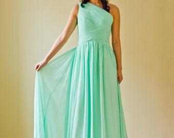 Long Mint One Shoulder A-line Bridesmaid Wedding Dress
