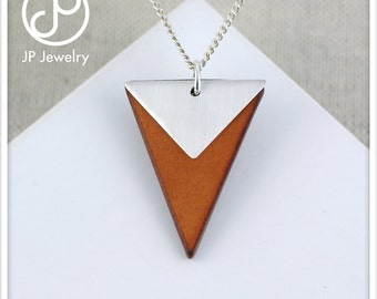 Handmade tirangle pendant 925 Sterling silver and recycled leather