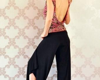 Black long pants with slits for Tango, Salsa, Dance