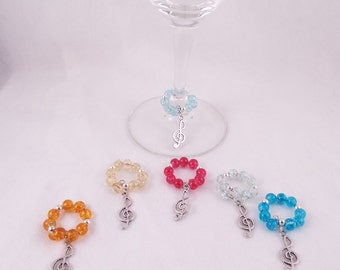It's a Treble! (Set of 6 Treble Clef Memory Wire Wine Glass Charms)