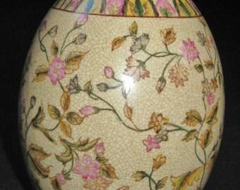 Decorative Porcelain Egg, Collectible Ceramic Ethnic Asian Art, Japanese