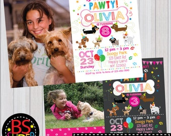 Puppy Birthday Invitation , Dog Birthday Party , Dog Invitation, Puppy party invitation