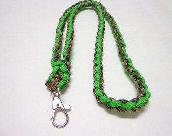 Custom Paracord Key/ID Lanyard - Camo/Neon Green