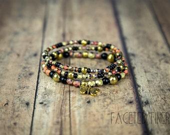The Effie [Hunger Games Inspired] : Orange/Black + Gold Czech Glass Bead Stretch Bracelet Trio