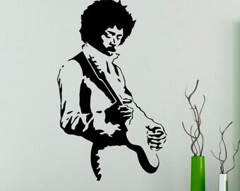 Wall Decal Jimi Hendrix Rock Music Guitarist Vinyl Sticker Wall Art Decor Home Interior Room Design 4(jmh)