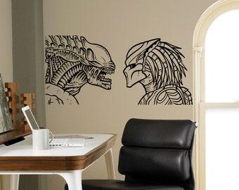Aliens vs Predator Wall Vinyl Decal Film Movie Wall Sticker Wall Home Interior Living Room Decor Removable Stickers 2(avp)
