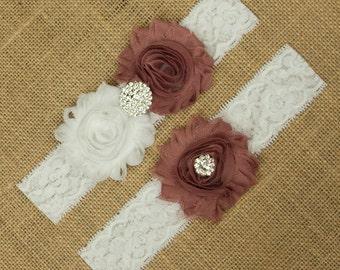 Mauve Wedding Garter, Bridal Garter, Flower Wedding Garter Set, Bridal Garter Set, Toss Garter, Keepsake Garter, Flower Garter Set, SCW1-R10
