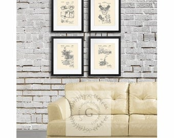 Vintage Jeep Home Decor posters set of 4 Cream Patent Art Prints, Gift for Him, Jeep Gift idea, Jeep wall decor, Vintage Jeep posters