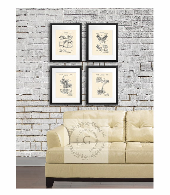 Vintage Jeep Home Decor Posters Set Of 4 Cream Patent Art