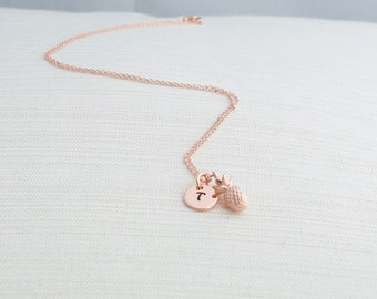 Rose Gold Initial & Pineapple Necklace, Initial Jewelry, Rose Gold Plated Disc Necklace,  Rose gold Pineapple Necklace,  A great gift idea