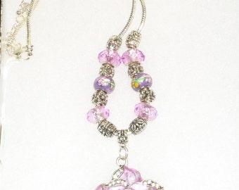Purple Flower Pendant Charm Necklace