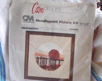 Vintage Columbia Minerva Needlepoint Picture Kit Southwest Sunset 1980