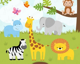 Jungle Clip Art, Animals clipart,  Baby, Cute, Digital Papers, Baby Shower, Birthday Party - Commercial Use