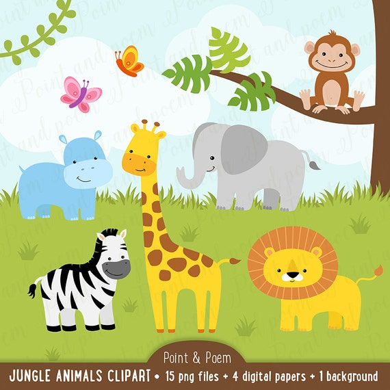Jungle clip art animals clipart baby cute digital papers for Baby shower party junge