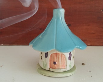 Handmade Stoneware Blue Roof Fairy House Incense House, Night Light, Mosquito Repellent Incense House.