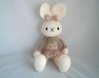 Crochet Bunny Rabbit / Crochet Amigurumi Bunny Rabbit / Long Eared Bunny Rabbit Cuddly Soft Toy.