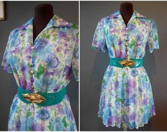 Vintage Floral Summer Tea Dress Granny Chic Turquoise Blue Short Sleeved - Size 16