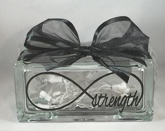 Strength Infinity / Infinity Strength Rectangular Decorative Home Decor Lighted Glass Block