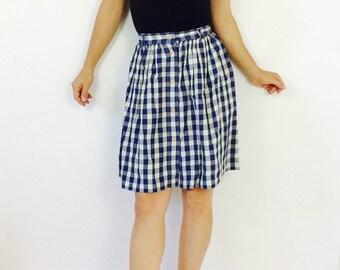 Vintage gingham skirt gingham mini skirt short plaid skirt broom skirt xs skirt extra small skirt gingham 90s skirt