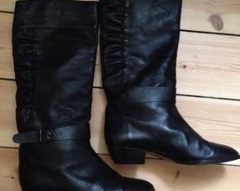 80s Black Leather Slouch Boots with Buckle