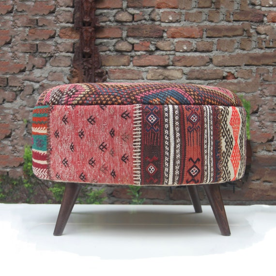 These 6 Pieces Of Colorful Furniture Are Absolute Must Haves: Kilim Patchwork Ottoman Kilim Ottoman Stool By DjemOverdyedRug