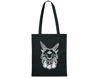 Hand printed cotton bag / jute bag with devil/demon/flower motive/print black/white 38 x 42 cm