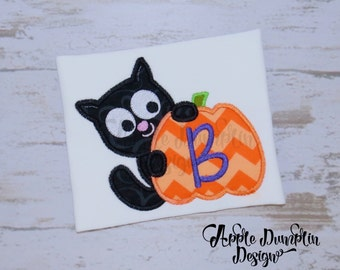 Cat with Pumpkin Applique  Machine Embroidery Design, Halloween, Monogram, Boy Embroidery, Girl, Trick or Treat, Fall, 4x4, 5x5, 6x6, 9x9
