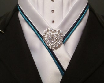 White Equestrian Pzazz Stock with Navy and Turquoise