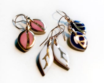 Gold plated earrings Gold dangle earrings Porcelain earrings Ceramic earrings Gold leaf earrings Blue earrings Pink earrings Silver earings
