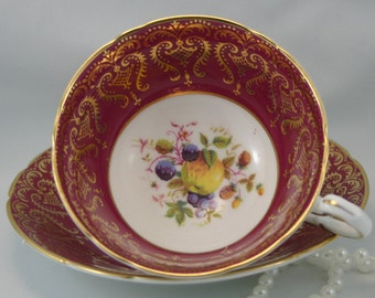 Elegant,Decorative, Special Edition Paragon Duo, Maroon Borders,Fruit Accent,Gilded, Bone China made in England in 1950s.