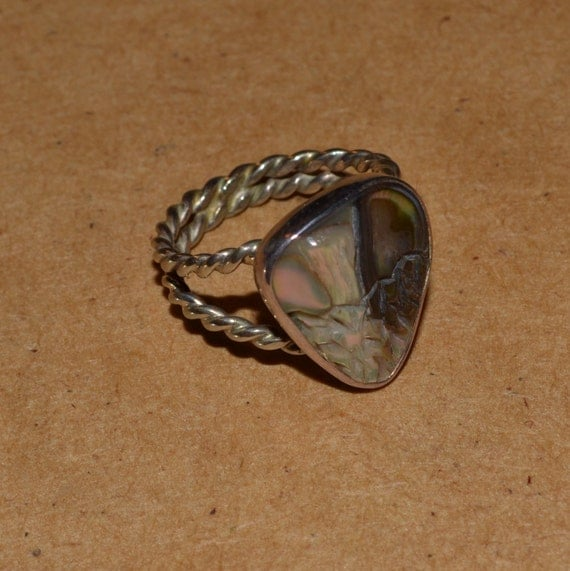 Paua Shell and Sterling Silver Ring from The Twist On Jewelry