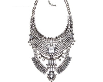 Rhinestone statement necklace in silver tribal and bold perfect for festivals