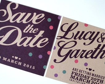 Save the Date Polka dots postcard