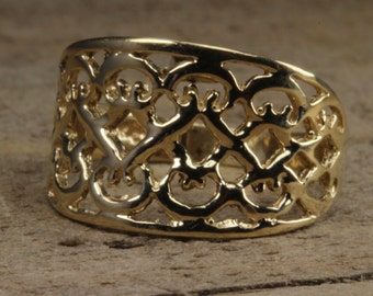 Estate 10K yellow gold Lattice Fashion Ring