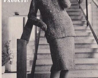 Vintage 1970s 3 Piece Suit, Jacket, Skirt & Sleeveless Blouse, PDF Knitting Pattern