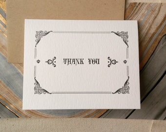 Thank You card printed letterpress with vintage metal ornaments--Classic black & white