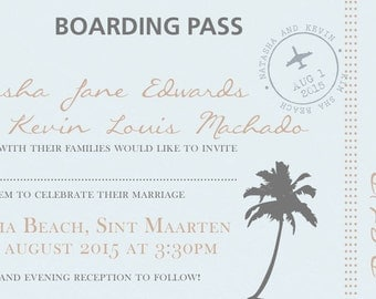 SAMPLE Plane / Board Pass Destination Holiday Wedding Invitations!