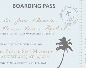 50 Plane / Board Pass Destination Holiday Wedding Invitations!
