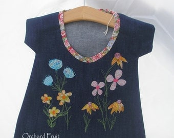 Handmade appliqued Peg-bag - free-motion embroidered applique flowers!