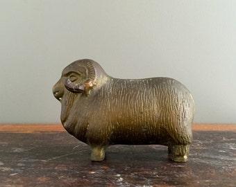 Vintage Brass Ram Figurine, Vintage Brass Paperweight, HEAVY SOLID BRASS