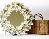 sunflower mirror, hand drawn plywood frame, frame diameter 29 cm, mirror dameter 14 cm