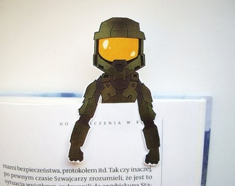 Halo master chief bookmark / halo 5 game helmet armor art ornament