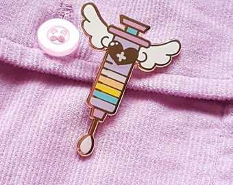 Sweet Syringe Enamel Pin - lolita menhera kawaii magic mahou pastel