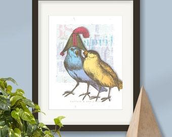Whimsical bird print, vintage bird print, vintage finch art, bird collage